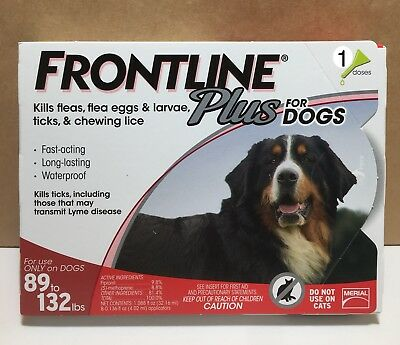 New Frontline Plus Flea & Tick Treatment For Dogs XL 89-132 lbs 1 Dose 1 Month!