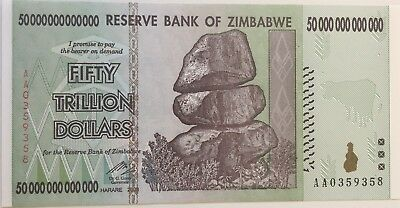 "50 Trillion Zimbabwe Dollar Banknote, Uncirculated AA+ ""Free OZ Shipping"