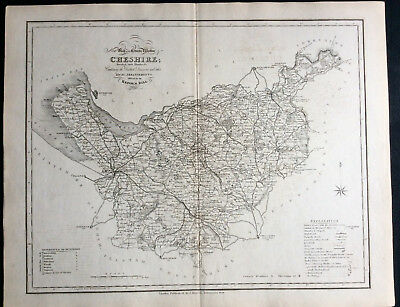 100% Original County Map of CHESTER c1838 by Ebden & J Duncan, Scarce Antique