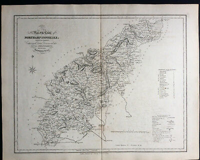 100% Original County Map of NORTHAMPTONSHIRE c1838 by Ebden & J Duncan, Scarce