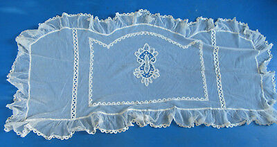 Antique Net Tambour Lace w Ruffled Edge - Panel or Sham