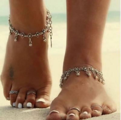 1 Pc  Boho Silver Flower Foot Chain  Ankle Bracelet Anklet (T4D)