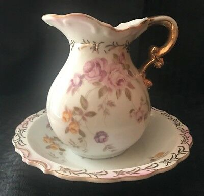 "Beautiful Vintage Hand Painted 5.5"" Lefton Roses Pitcher & Basin  SL 6327"