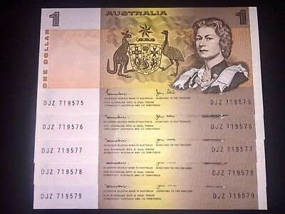Consecutive Uncirculated $1 Johnston / Stone signed Australian paper banknotes