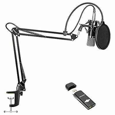 Neewer condenser microphone kit NW-700 USB sound card adapter NW-35 mic... JAPAN