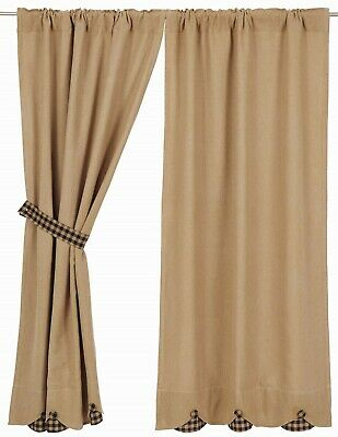 """63"""" L Rustic Country Curtains Natural Cotton Burlap w/ Navy & Tan Check Accents"""