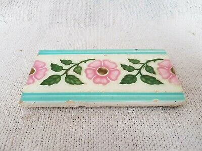 1940s Vintage Floral Leaves Majolica Art Nouveau Architecture Saji TM Tile Japan