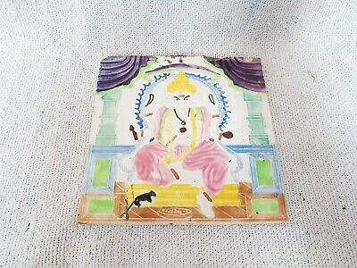 1940s Vintage Lord Ganesha Design Majolica Art Nouveau Architecture Tile Japan