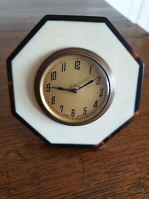Art decoTortoise Shell And Ivory desk/table Clock vintage antique