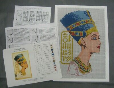 Nefertiti Latch Hook Rug Kit, a Readicut design in pure wool with colour chart