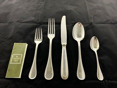 Barely  Used Christofle (France) Perles Silver-Plated Silverware Place Setting