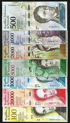 VENEZUELA 7 PCS UNC SET , 500 to 100000 BOLIVARES , 2016 2017 ,LAST TWO S/N SAME