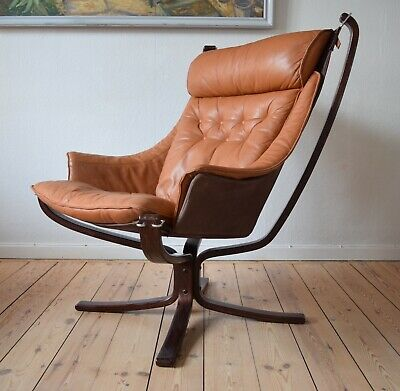 Mid-Century Cognac Winged Falcon Chair by Sigurd Ressel for Vatne Møbler, 1970s