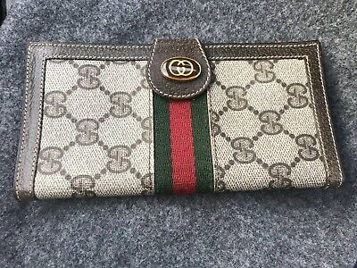 d8ac77176ea Authentic Vintage GUCCI Checkbook Wallet Coin Purse GG Logo Racing Stripes