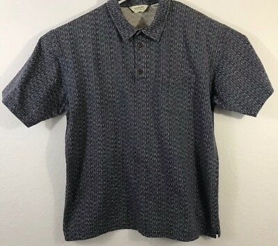 Vintage Reebok Golf Mens XL Gray Blue Striped Polo Shirt Cotton Stretch Knit