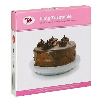 Professional Non Slip Revolving Cake Decorating Icing Turntable, White, Tala