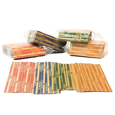 J Mark Neatly-Packed Flat Coin Roll Wrappers Extra Pennies Quarters, Dimes, ABA