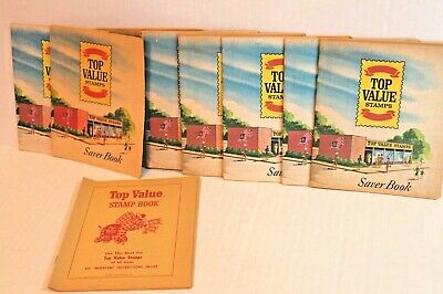 VINTAGE 1966 TOP Value Stamps Saver Book LOT of 9 Grocery Store Stamp Books