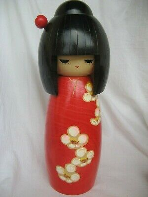 Gorgeous Vintage large Japanese Kokeshi Doll w.Box and Papers 28cm