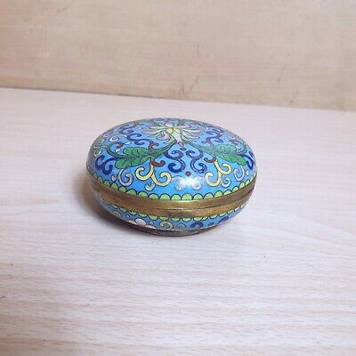 5# Old Rare Antique Beautiful Chinese Cloisonne Enamel Round Box