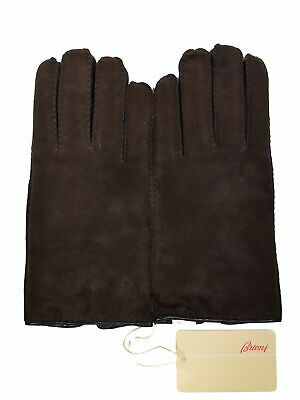 Brioni Gloves SIze 9 M/L Brown/Black Suede/Nappa leather Cashmere-lined
