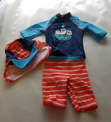 John Lewis boat design swim sun suit top trousers and hat age 6-9 months