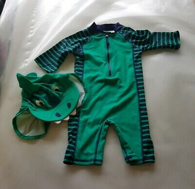 Jojo Maman Bebe green blue striped swim sun suit and hat age 6-12 months