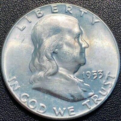 1953-P FRANKLIN Half Dollar 90% Silver Uncirculated 403 Some Toning