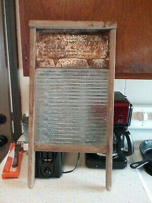 Antique National Washboard Co No. 190 Wood Metal Glass 1915 Primitive Advertise