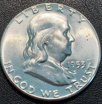 1953-P FRANKLIN Half Dollar 90% Silver Uncirculated 404 Some Toning