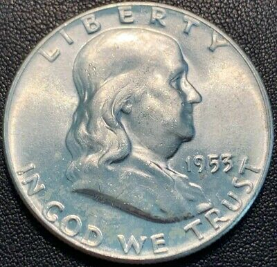 1953-P FRANKLIN Half Dollar 90% Silver Uncirculated 405 Some Toning
