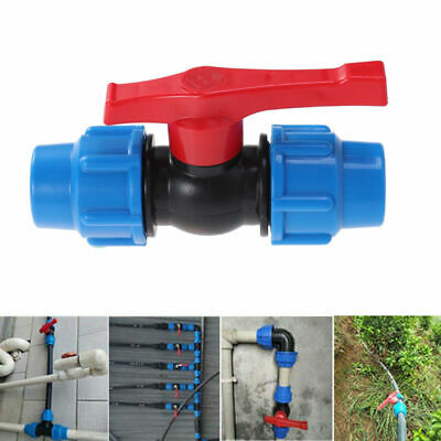 """Plastic Pipe Ball Valve Connector 3/4"""" 1/2"""" 1"""" Water Tube System Shut-off Switch"""