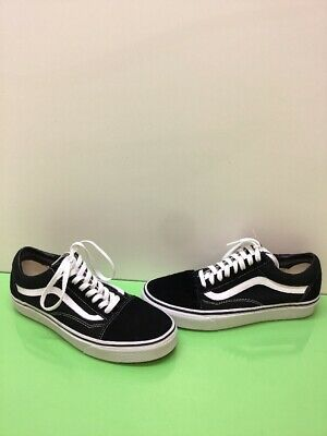 4ae072c0bff VANS Old Skool Black Canvas Suede Lace Up Skate Shoes Men s Size 8.5  Women s 10