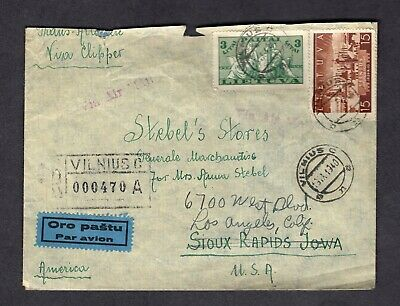 1940 Lithuania Registered Air Mail Cover Via Atlantic Clipper 2 Stamps #293 #314