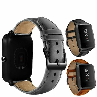 Youth Watch Band Black Buckle Genuine Leather Xiaomi Huami Amazfit Bip BIT Lite