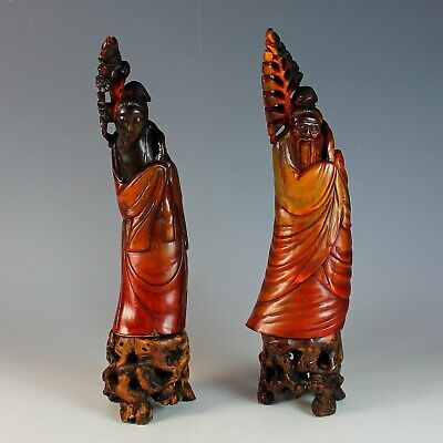 Pair of Old Chinese Carved Ox/Bull Horns Deity on Hard Wood Carved Stands