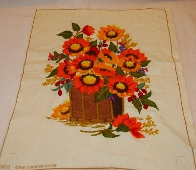 Vintage Sunflower Needlepoint Creative Circle 1979 Completed Wild Bouquet