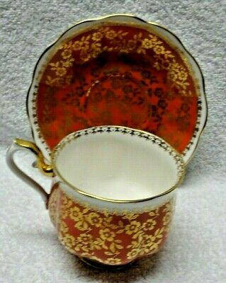 Royal Albert Marlborough Brown And Gold-Colored Filagree Cup and Saucer
