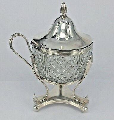 Stunning Dutch Solid silver & glass mustard sauce pot George III period style
