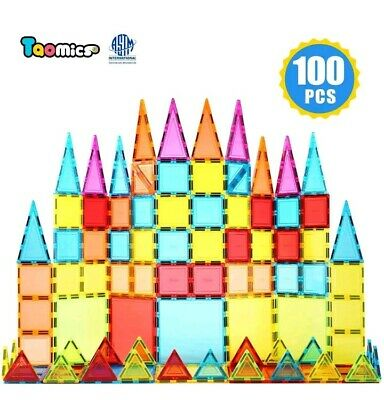 Taomics 100PCS Magnetic Building Blocks, Strong 3D Clear Tiles Children Educatio
