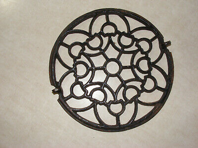 antique cast Iron round floor grate ~~ center piece part