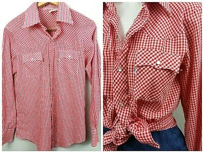 c5107d4ee2b Vtg 70s Levi s Thin RED GINGHAM Western Shirt UNISEX Cowboy Pearl Snap Top