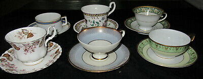 Lot of 6 Vintage Tea Cup and Saucer Sets H & Co., Royal Albert, Roy Kirkham