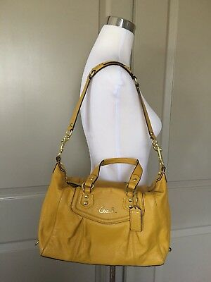 COACH 💯%Authentic ASHLEY Leather Mustard CONVERTIBLE TRAVEL SATCHEL TOTE  BAG 24db052adb