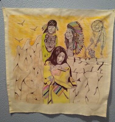 "Prison Artwork Inmate Art Work One Of A Kind On Cloth ""Family Love"" 2009 Signed"