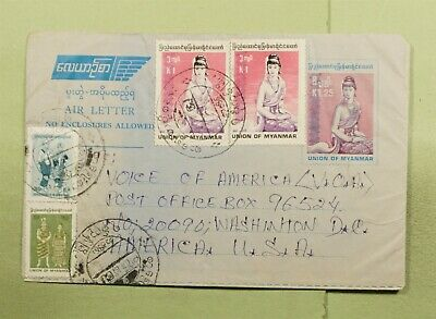 DR WHO MYANMAR UPRATED AEROGRAMME TO USA  d88071
