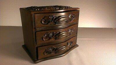 Vintage Chinese carved wooden tri drawer jewelry box Phoenix and Dragon