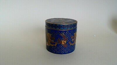 ANTIQUE CLOISONNE BOX 2 DRAGONS & FLAMING PEARL VERY FINE DETAILS 45mms TALL