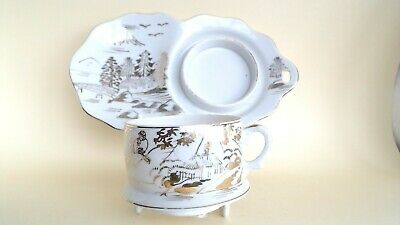 Antique Meiji Period Kutani Cup & Saucer/plate Hand-Painted Gold On Eggshell