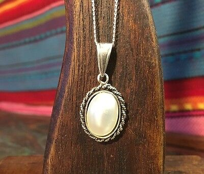 Vintage Sterling Silver Oval Rope Detail Faux Pearl Pendant